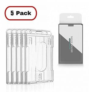 CEYDEY Lot de 5 étuis de porte-badge vertical (2 à 3 cartes) en plastique rigide transparent 2 faces pour cartes de crédit Transparent de la marque CEYDEY image 0 produit