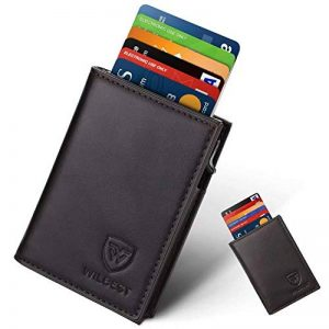 Porte Carte, Wilbest Portefeuille Porte-cartes RFID Blocage en Cuir, Automatique Pop-up, Slim Wallet Design Elégant, Rangement Carte de Crédit et Billets, Saint-Valentin Fête Anniversaire Amis Parents de la marque Wilbest image 0 produit